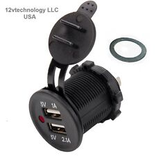 Red LED Waterproof Dual USB Charger Socket Outlet 3.1 amp Panel Mount Motorcycle
