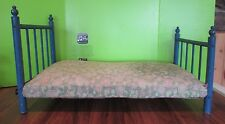 """Vintage Antique 4 POSTER DOLL BLUE WOODEN BED 22X12""""  COULD FIT 18"""" DOLL"""