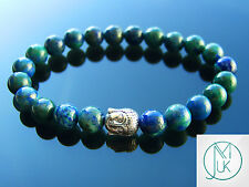 Buddha Chrysocolla Natural Gemstone Bracelet 7-8'' Elasticated Healing Stone