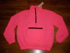 NEW Vtg 80s Vanderbilt Neon Pink MEDIUM windbreaker TRACK SUIT Pullover Jacket M