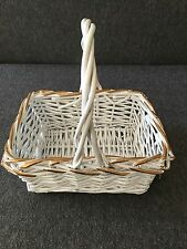 White Wicker Basket with Gold Trim Small