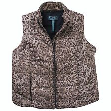 Ralph Lauren 1X Plus Brown Animal Print Puff Vest Jacket Coat Winter Chest 48""