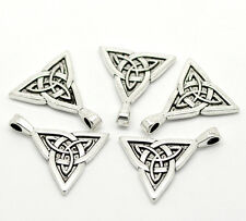 10Pcs Silver Tone Celtic Knot Triquetra Charms Pendants Jewelry Diy Finding 28mm