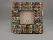 New Pottery Barn Warm Beaded Picture Frame 3 x 3 Multi Color