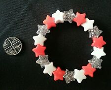NEW ELASTIC STAR BRACELET RED, WHITE & GLITTERY. KITSCH, EMO, GOTH PUNK.