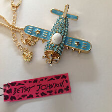 Betsey Johnson Blue Fighter Plane Necklace, Ships Free from U.S. Airplane
