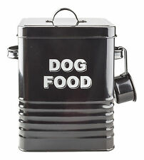 VINTAGE STYLE DOG FOOD TIN STORAGE BOX IN BLACK FOR DRY FOOD, POUCHES,TREATS ETC