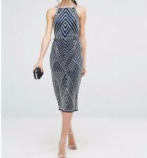 BRANDED TALL Midi Pencil Dress with Chevron Embellishment Navy UK 14/EU 42/US 10