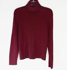 Lauren Ralph Lauren XL Pull Over Stripped Black Red Sweater
