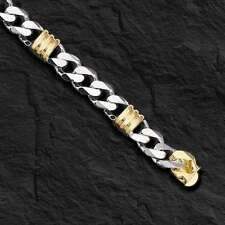 "14k Two Tone Gold Mens Handmade Fashion Chain Bracelet 8"" 11MM 48 grams"