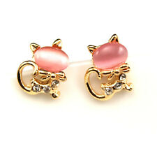 NEW fashion Europe Style plating 14K Pink opals cat Stud earrings EA296
