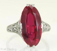 Antique Vintage Estate 18K White Gold Flowers 6.30ct Ruby Art Deco Ring 4g $975
