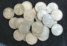 Bulk Lot Of 25 Circulated George VI Silver Sixpences ( 1937- 1946 ) Pre-47