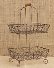 New Primitive French Country Cookie Two Tiered Wire Basket Holder Double Caddy