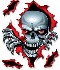 Large - SKULL  Ripped Hole -VINYL CAR BIKE DECAL STICKER ADHESIVE 210mm X 175mm