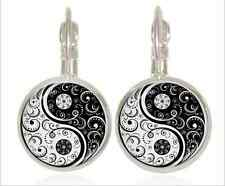 1 pair yin and yang Glass cabochon 18 mm Lever Back Earrings Jewelry #6364