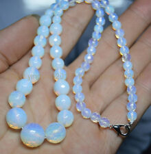 "New 6-14mm White Faceted Sri Lanka Moonstone Round Beads Necklaces 18"" AA"