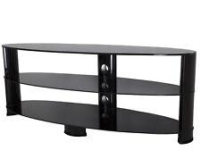 """Noir brillant verre ovale meuble tv lcd led plasma téléviseurs jusqu'à 65"""" - 140cm"""