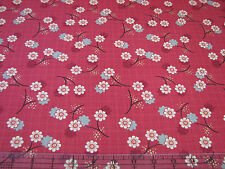 3 Yards Quilt Cotton Fabric - Studio E River Mist Asian Floral Metallic on Red