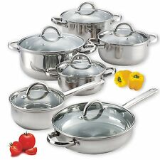 NEW Cook N Home 02410 12 Piece Stainless Steel Cookware Set, Silver Pots Pans
