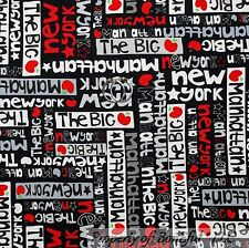 BonEful Fabric Cotton Quilt Black Red Gray B&W New York City Word Star VTG SCRAP