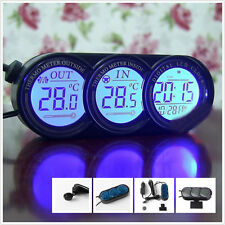 1x Digital LCD Temperature Thermometer & Clock for Universal Car Indoor Outdoor