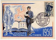 1950 MARSEILLE France FRENCH PC Postcard JOURNEE NATIONALE DU TIMBRE Stamps