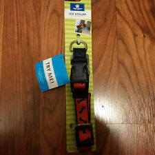"TOP PAW LED DOG COLLAR BLUE/RED BONES SIZE MEDIUM 14-20"" INCH NECK- NEW!"