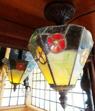 Tiffany Lampada a sospensione lampada soffitto vetro arte piombo vetrata bronzo antico