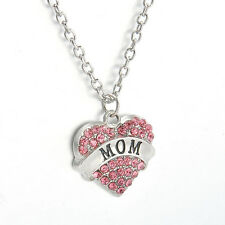 Family Mom Xmas Gifts Crystal Love Heart Charm Pendant Necklace Chain Jewelry