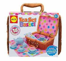 Tea Party Set Pretend Play Girl Toy Kid Wicker Picnic Basket Porcelain Cup Gift
