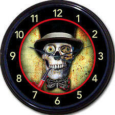 Steampunk Skeleton Skull Clock Top Hat Victorian Gothic Goth Vintage New 10""