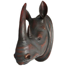 NEW! SAFARI ANIMAL HEAD BUSTS - WALL MOUNTED JUNGLE ANIMALS  PLAQUE - RHINO