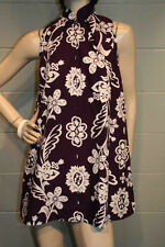 S PURPLE WHITE MR D'S KONA KAILUA HAWAIIAN FLORAL PRINT VTG 60s TENT MINI DRESS