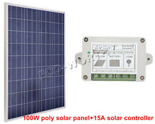 100W 12V PV Solar Panel Bundle Kit with 15A Controller for Home Car Boat System
