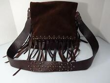 G SERIES BY COLE HAAN BEJEWELED & FRINGE SOFT BROWN SUEDE CROSS BODY BAG HANDBAG