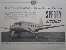 5/1947 PUB SPERRY GYROSCOPE A3 GYROPILOT CUNLIFFE-OWEN CONCORDIA ORIGINAL AD