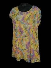 Womens ASOS Yellow Floral Print Baby Doll Dress US 22 UK 26