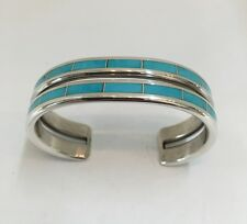 Native American sterling silver zuni turquoise inlay cuff bracele Larry Loretto