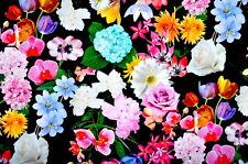 Deko Möbel Patchwork Stoffe Baumwolle Vorhang Bunte Blumen 1339/69 auf Schwarz