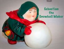 SEBASTIAN THE SNOWBALL MAKER Retired Collectible Porcelain Figurine w/Box & Tag