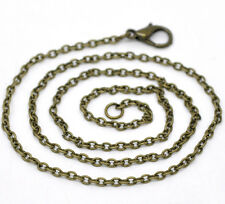 24 Bronze Tone Lobster Clasp Chain Necklaces 2x3mm 16""