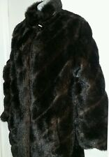 Vintage Norm Thompson SZ Med SWING COAT CHOCOLATE MINK Faux Fur Lined