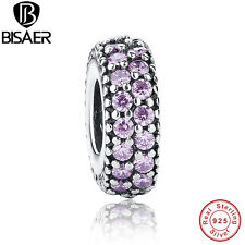 Authentic 925 Sterling Silver Pink CZ Inspiration Within Spacer Charms Bracelet