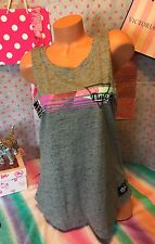 Victoria's Secret PINK LARGE Black Marl w/PINK in pastel Graphic Muscle Tank Top