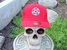 pentagram white embroided red baseball hat slayer pagan death metal 666