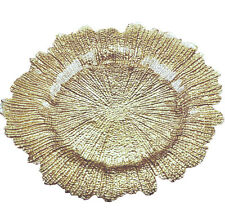 SET OF 8 GOLD TEXTURED GLASS CHARGER PLATES