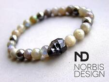 Men's Labradorite/Hematite Skull Bracelet with Swarovski Crystal 7'' Elasticated