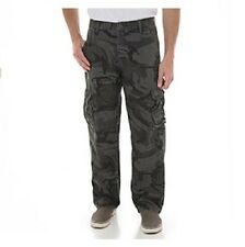 Mens Wrangler Barlow cargo pants Trousers combat Anthracite Camo camouflage 38W