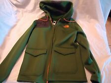 NORTH FACE MEN'S MEDIUM GREEN FLEECE JACKET WITH  HOOD,